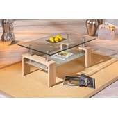 Table Basse Loana Rectangulaire Meuble De Salon Mdf Ch�ne Moderne Verre Plateau Dim. 1000x450x600