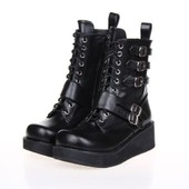 Bottes Boots Bottines Rangers Femme Rock Punk Gothique Emo Vintage Imprim� L�opard Tendance Cuir Style Arm�e Collection Black Sugar Lolita Cosplay D�guisements Boutique Paris