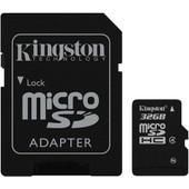 Carte m�moire Kingston microSDHC 32 Go Class 4 avec adaptateur vers SD