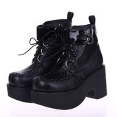 Bottes Militaires Rangers Bottines Creepers Baskets Chaussures Compens� Style Emo Rock Gothique Lolita Punk Cuir Boutique Black Sugar Cosplay Anime Manga Maid Uniforme Japonais Mode D�guisement Paris