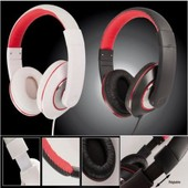 Casque audio style studio confort, blanc et rouge
