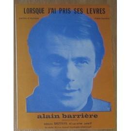 Alain Barrière - Partition Lorsque j'ai pris ses levres (Feuillet)