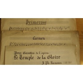 """Gavottes """" Le temple de la Gloire"""" 1ère et 2ème / Carmen /Werther/ Hérodiade/ Roméo et Juliette (Gounod), Mignon/ Manon/ Cavalleria Rusticana/ Primerose/ Pétronille-Java/ Caresse de Fleur ...."""