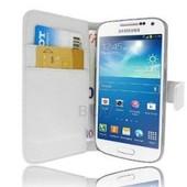 Samsung Galaxy S4 Mini I9190 I9195 : Etui Portefeuille Housse Coque Pochette En Cuir Pu Format Livre Horizontale Emplacement Cartes Couleur Blanc + Film D'�cran