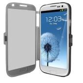 Samsung Galaxy S3 Iii I9300 I9305 4g : Coque Etui Housse Pochette Silicone Gel Format Livre Rabat Couleur Gris + Film D'�cran