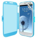 Samsung Galaxy S3 Iii I9300 I9305 4g : Coque Etui Housse Pochette Silicone Gel Format Livre Rabat Couleur Bleu + Film D'�cran