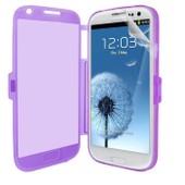 Samsung Galaxy S3 Iii I9300 I9305 4g : Coque Etui Housse Pochette Silicone Gel Format Livre Rabat Couleur Violet + Film D'�cran