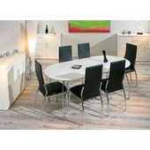Table Ovali Ovale De Cuisine Blanche Meuble Salle � Manger Blanc Avec Rallonge Dim. 1400-1800x740x900