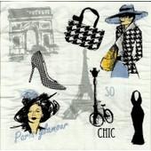 Lot De 2 Serviettes D�co Papier: Paris Glamour/ So Chic