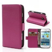 Etui Samsung Galaxy Trend S7560 - Housse Portefeuille Support Vid�o Grain� Rose