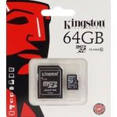Kingston Sdxc10/64gb Carte M�moire Microsdhc Micro Sd Xc Sdxc Avec Adaptateur Classe 10 64 Go 64g Uhs-1