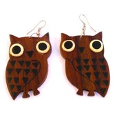 Boucles D'oreilles Bois Hibou Chouette Ethnique Bijoux Wooden Earrings Wood Owl!