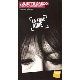 plv 14x25cm rigide cartonnée magasins fnac JULIETTE GRECO chante BREL