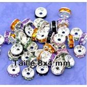 10 Perles Intercalaires Rondelles Argent�es Et Strass Couleurs Mixtes 8 Mm