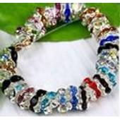 10 Perles Intercalaires Rondelles Dor�s Et Strass Ondul�es Couleurs Mixtes 8 Mm