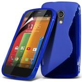 Housse Etui Pochette Coque S Silicone Gel Tpu Bleu Pour Motorola Moto G X1032 + Film Protection �cran