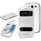 Etui � Rabat Pocket Cover Blanc View Pour Samsung Galaxy S3 I9300