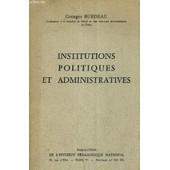 Institutions Politiques Et Administratives. de georges burdeau