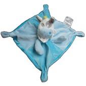 Doudou Plat Carre Leclerc �ne Vache Cow Kuh Poney Cheval Horse Esel Donkey Z�bre Blanc Multicolor Bleu Gris Vert Siplec B�b� Naissance