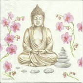 Lot De 2 Serviettes D�co Papier: Bouddha Et Fleurs De Lotus