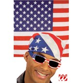 ****** Bandana Foulard Drapeau Usa Etats Unis Am�ricain Country Biker Motard 100% Coton - 55cm X 55cm - Chasse Peche Arm�e Us Camouflage Arm�e Airsoft Moto Paintball Bleu Noir Blanc Rouge