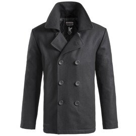 Manteau Caban Marin Us Laine Noir Pea Coat Surplus Vintage
