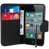 Etui Portefeuille Livre Housse Coque Pochette Book Cuir Pour Apple Iphone 4 4s 4g Noir + Film+ Stylet