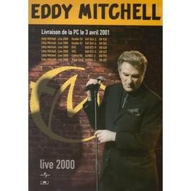 EDDY MITCHELL LIVE 2000 PLAQUETTE CARTONNEE BON DE PRECO PLAN MEDIA TRES RARE