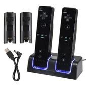 Insten� Socle Dock Station D'accueil De Charge Recharge Chargement Par Port Usb + 2 Batteries Noires Pour 2 Manettes T�l�commandes Nintendo Wiimote Wii / Wii U