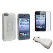 3en1 Pack Etui Housse Coque Silicone/Chargeur Voiture/Film Pour Ipod Touch 1 2 3 2g 3g