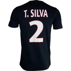 T-Shirt Thiago Silva N�2 - Collection Officielle Paris Saint Germain Psg - Blason Maillot - Tee Shirt Taille Adulte Homme