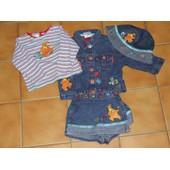Ensemble V�tement Disney Store 4 Pieces Jupe Culotte Veste Jean Bob Et Tee Shirt Manche Longue 6 Mois