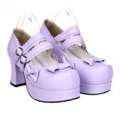 Chaussures Lolita Sur Commande Shoes Ballerine Compens�e � Talon Sandale Escarpin Botte Boot Simili Cuir Violet Rouge Verni Noeuds Papillon Finitions Dentelle Sangle � Boucle Black Sugar Ref 9827