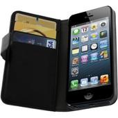 Etui Portefeuille Cuir Apple Iphone 5/5s - Housse Protection Clapet Noir