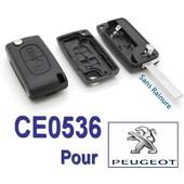 Coque De Cl� T�l�commande Plip 2 Boutons Pour Peugeot 107 207 208 307 407 807 1007 308 5008 - Ce0536 Avec Lame (Sans Rainure)