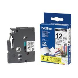 Brother Tz131 - Noir Sur Transparent - Rouleau (1,2 Cm X 8 M) 1 Unit�s Bande Imprimante - Pour P-Touch Pt-1010, 1080, 1090, 1100, 1190, 1230, 1290, 1760, 1830, 2110, 2430, Pt-Gl-200