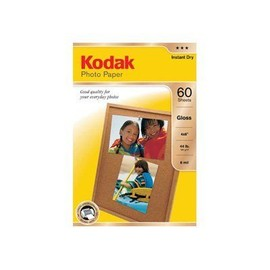 Kodak Photo Paper - Papier Photo Brillant - 100 X 150 Mm - 165 G/M2 - 60 Feuille(S) - Pour Esp 1.2, C315; Hero 5.1, 6.1, 7.1, 9.1; Office Hero 6.1