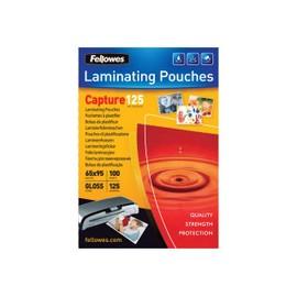 Fellowes Laminating Pouches Capture 125 Micron - 100 - 64 X 95 Mm Pochettes Plastifi�es