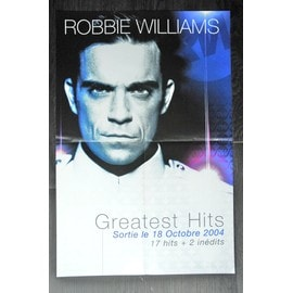 ROBBIE WILLIAMS GREATEST HITS POSTER BON DE PRECO FORMAT 60X40 TRES RARE LIVRE PLIE BON ETAT