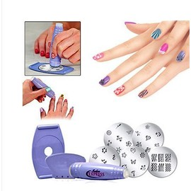 Kit Stamping Ongles Nail Art 30 Motifs Salon Express Tampon Pochoirs Raclette