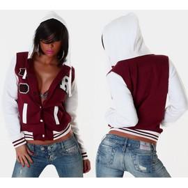 Veste Blouson Teddy Sweat Femme Style American College A Capuche T.S M L