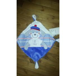 Doudou Chien Matelot Tex Plat Losange Encre Marine Bleu Blanc Rouge Traits Lignes Multicolore Naissance Bebe Enfant