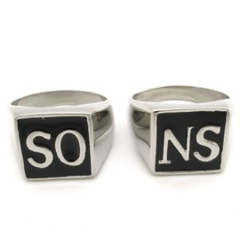 Bague Sons Of Anarchy En Acier, So Ns. Lot De 2 Bagues Soa Taille Du 52 Au 71 !