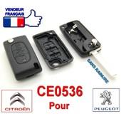 Coque T�l�commande Cl� Plip 3 Boutons (Coffre) Pour Peugeot / Citro�n (107 207 307 308 407 607 807 C2 C3 C4 C5 C6 Picasso) Ce0536 Lame Sans Rainure