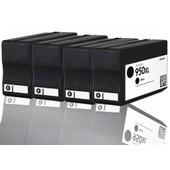 4 X Cartouches D'encres Compatible Pour Hp 950xl 950 Xl Avec Puce , Officejet Pro 8100, 8600 Plus, 8600 E-All-In-One (Noir)