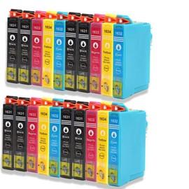 Premium 16 + 4 Compatible Pour (T-1636xl) T1631xl T-1632 Xl T-1633 Xl T-1634 Xl Avec Puce Epson Workforce Wf-2010 W, Wf-2510 Wf, Wf-2520 Nf, Wf-2530 Wf, Wf-2540 Wf