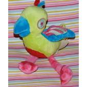Oiseau Doudou Perroquet Tape � L'oeil Vert Bleu Rouge Rose Peluche