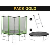 Trampoline Yoopi - � 2.44 M - �chelle + Filet + Couverture