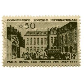 Timbre du centenaire de la 1ére conférence postale internationale, à Paris (hôtel des postes en 1863)N° 1387 neuf ++