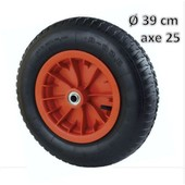 Roue Gonflable 39 Cm Pour Brouette Axe 25mm